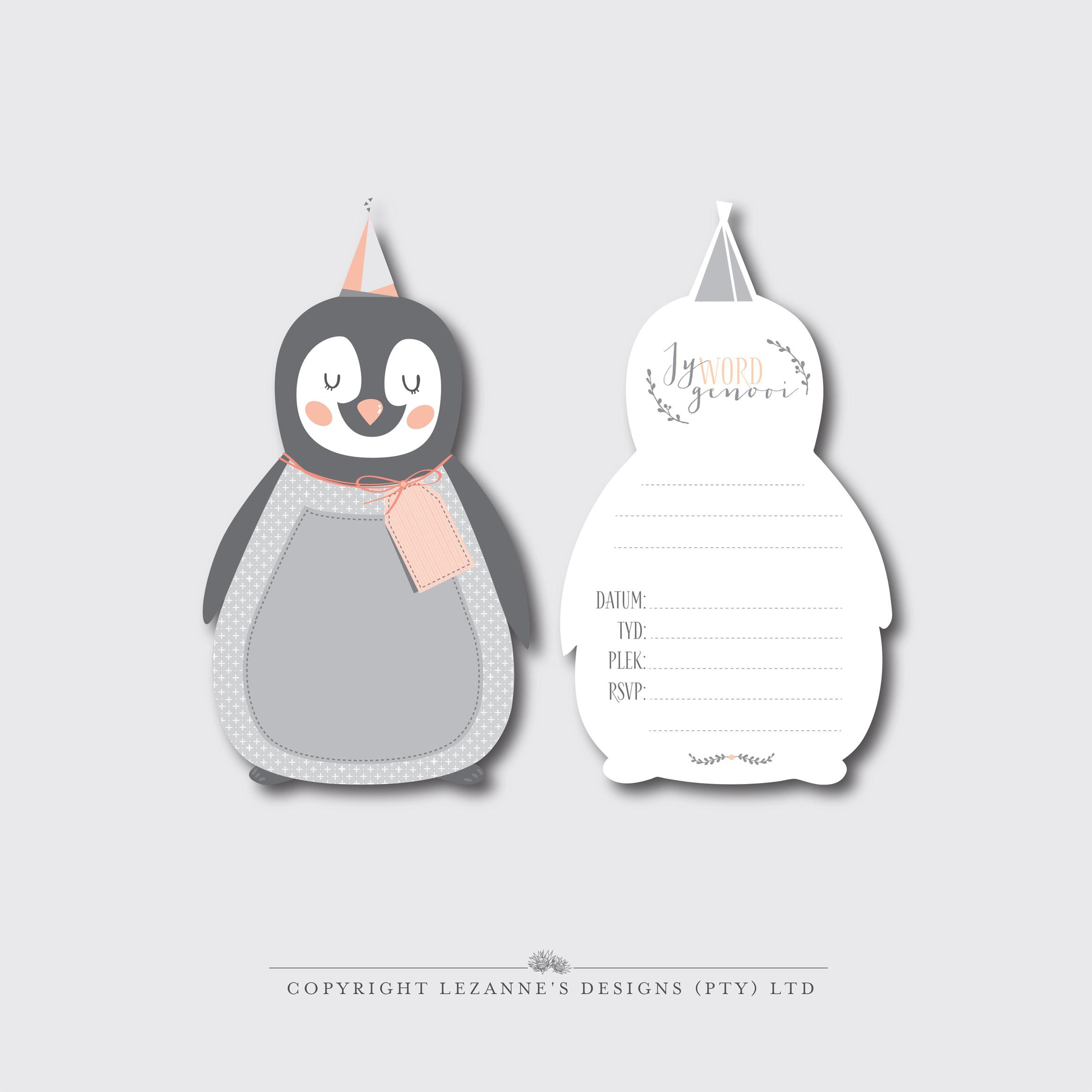 Pretty Penguin Invitations Lezanne S Designs
