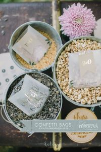 Wedding confetti bags designed by Lezanne's Designs