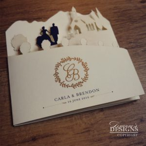 Laser cut wedding invitation by Lezanne's Designs