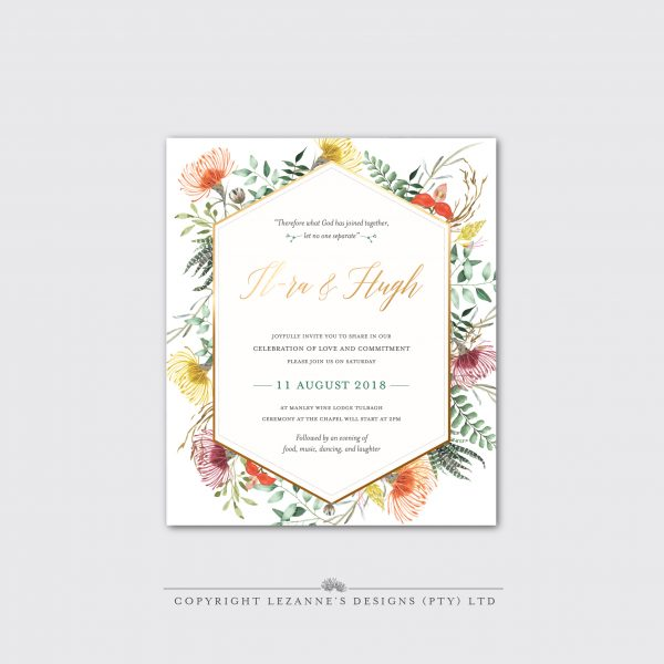 Africa Bloom - Wedding Invitation - Lezannes Designs