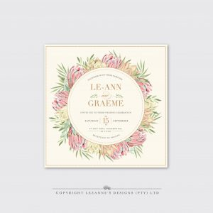 Blushing Protea - Wedding Invitation - Lezannes Designs