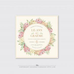 Blushing Protea - Wedding Invitation - Lezannes Designs