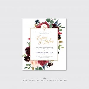 Burgundy Blush - Wedding Invitation - Lezannes Designs