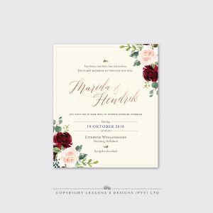 Marsala Rose - Wedding Invitation - Lezannes Designs