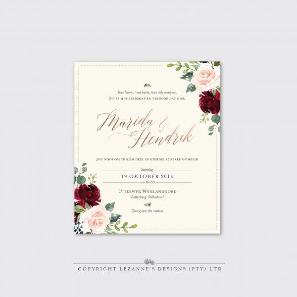 Marsala Rose - Wedding Invitation - Lezannes Designs