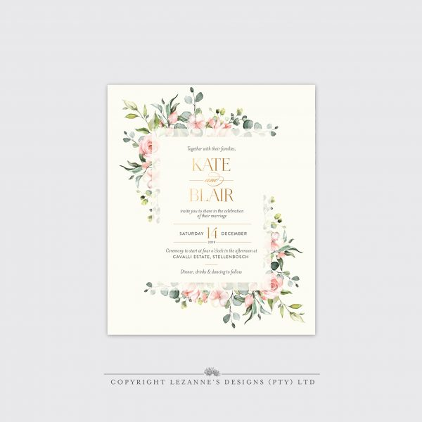 Pretty in Pink - Wedding Invitation - Lezannes Designs